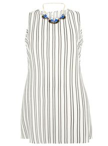 Evans Ivory stripe necklace top