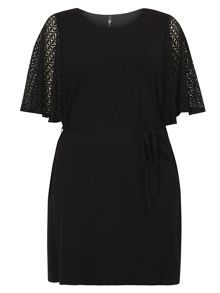 Evans Black Lace Sleeve Tunic