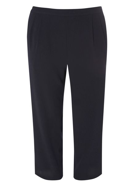 Evans Navy Crepe Cropped Trousers