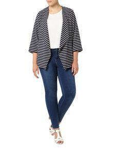 Evans Navy Stripe Waterfall Jacket