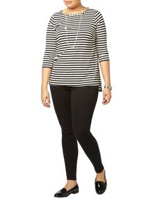 Evans Black and White Stripe Top