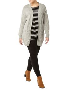 Evans Grey Textured Cardigan