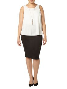 Evans Black Scuba Pencil Skirt