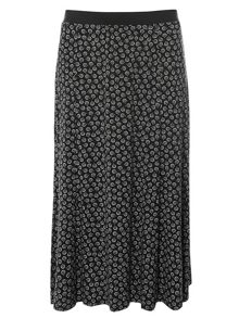 Evans Black Printed Maxi Skirt