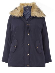 Evans Navy Fur Collar Padded Coat