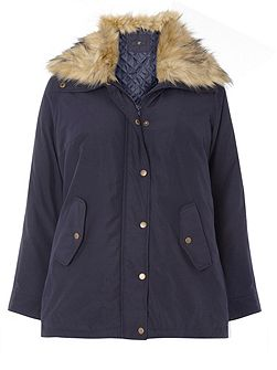 Navy Fur Collar Padded Coat