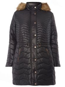Evans Black Fur Trim Quilted Coat