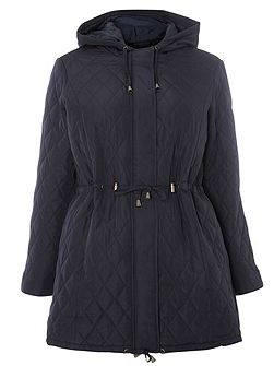 Navy Blue Quilted Coat