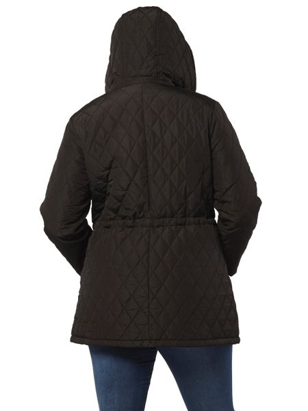 Evans Black Pear Fit Quilted Coat