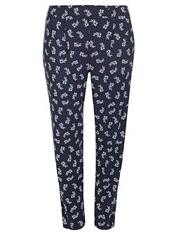 Navy Printed Tapered Trouser