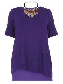 Evans Asymetric Purple Necklace Top