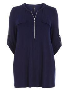 Evans Navy Blue Zip Front Jersey Shirt