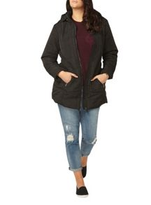 Evans Black Belted Padded Coat