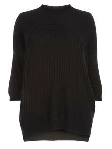 Evans Black High Neck Rib Detail Jumper