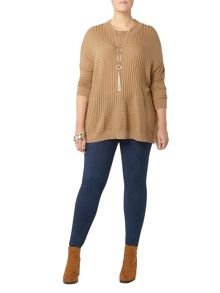 Evans Brown Knitted High Neck Jumper