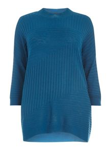 Evans Teal Blue Knitted High Neck Jumper