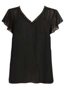 Evans Black Eyelet Detail Top