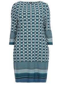 Evans Blue geometric printed dress