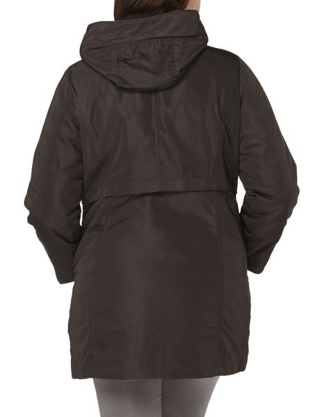 Evans Black Hooded Padded Coat
