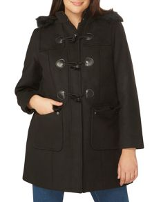 Evans Black Duffle Coat