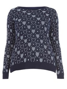 Evans Navy Heart Jumper
