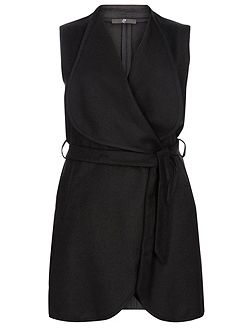 Black Belted Sleeveless Coat