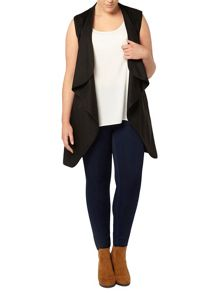 Evans Black Belted Sleeveless Coat