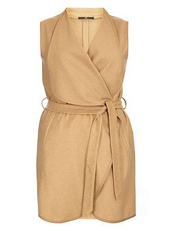 Neutral Belted Sleeveless Coat
