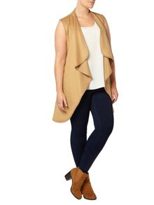 Evans Neutral Belted Sleeveless Coat
