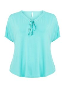 Evans Aqua lace up top