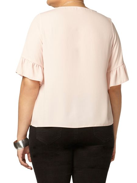 Evans Blush Fluted Sleeve Top