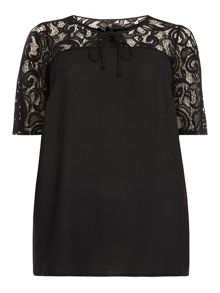 Evans Black Lace Detail Top