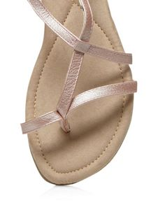 Evans Extra Wide Fit Pink Toe Post Sandal