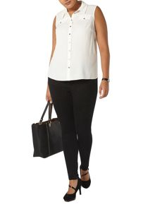 Evans Ivory sleeveless shirt