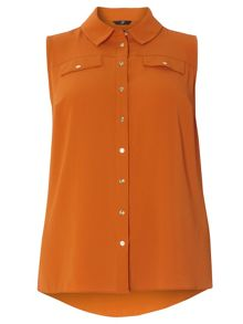 Evans Saffron Sleeveless Shirt