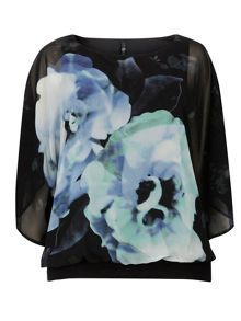 Evans Black Floral Bubble Top