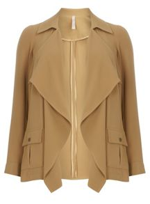 Evans Beige Short Trench Coat
