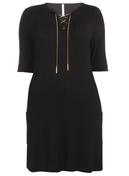 Evans Black Lace Up Neck Dress