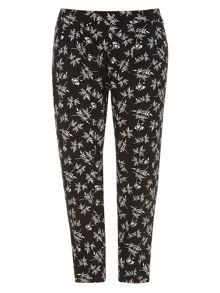 Evans Black Print Tapered Trouser