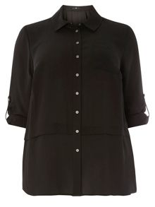 Evans Black Button Through Blouse