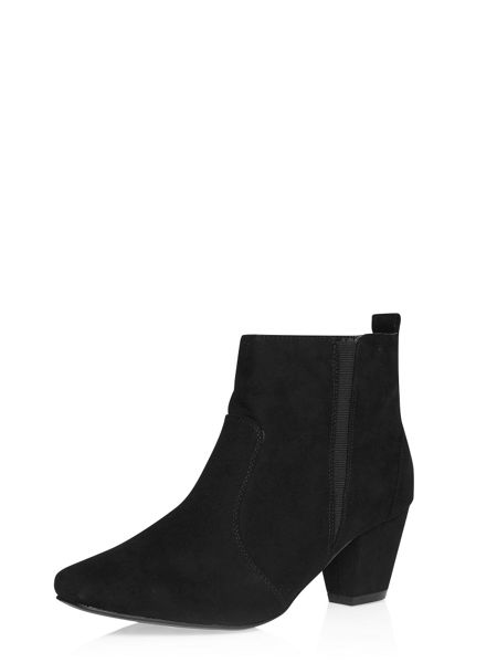 Evans Black Suedette Square Toe Ankle Boot