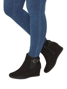 Evans Black Buckle Wedge Boot