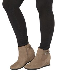 Evans Grey Buckle Wedge Boot