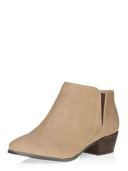 Beige Block Heel Ankle Boot