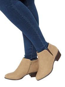 Evans Beige Block Heel Ankle Boot