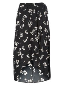 Evans Black Hourglass Wrap Maxi Skirt