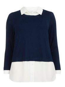 Evans Navy and ivory 2 in 1 top