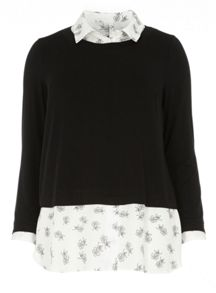 Evans Black 2In1 Floral Print Top