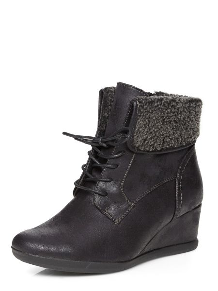 Evans Black Lace Up Collar Wedge Boots
