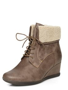 Evans Grey Lace Up Collar Wedge Boot